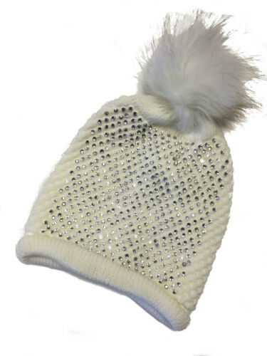 Womens Bobble Hats Fur Pom Pom Diamante Designer Inspired Beanie Hat Black Cream