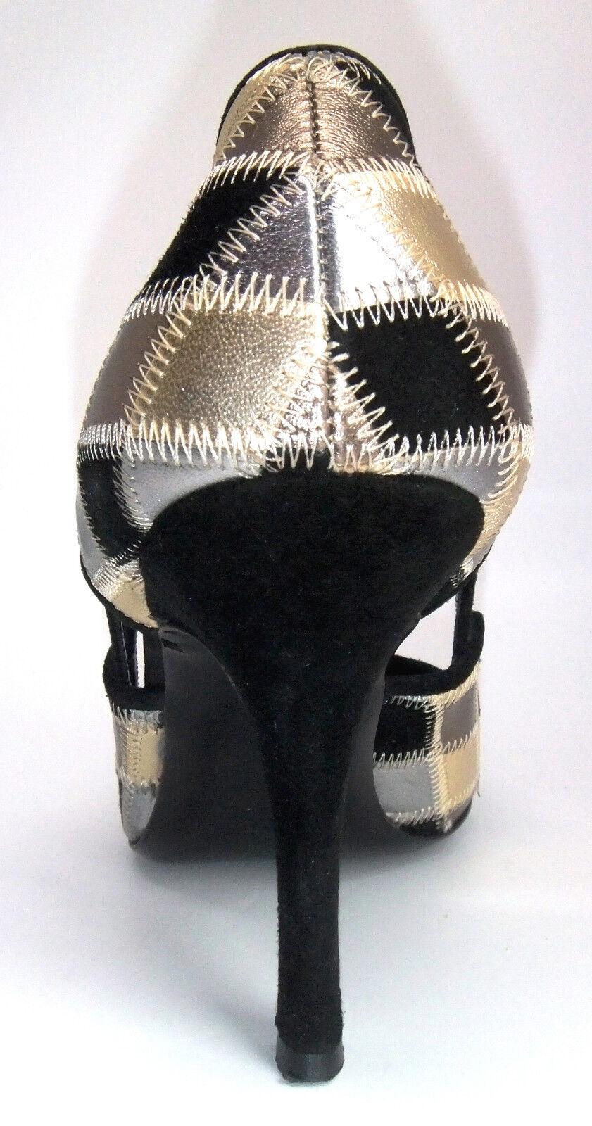 VALENTINO GARAVANI METALLIC METALLIC METALLIC gold Silver Bronze LEATHER & BLACK SUEDE SHOES, 38 8 37a856