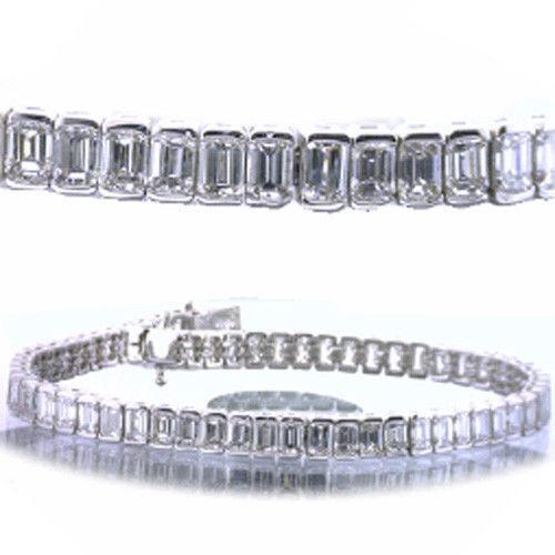 11.22 carat Emerald Cut Diamond Tennis Bracelet, 18k gold F color VS1 clarity