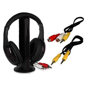 5-in-1-Wireless-Headphone-Earphone-Black-For-MP3-MP4-PC-TV-CD-FM-Radio