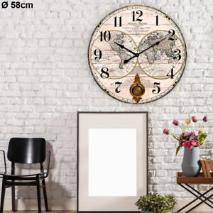 Grosse-Wand-Uhr-Shabby-Look-Wohn-Zimmer-Deko-MDF-lackiert-Zahlen-Pendel-Zeiger