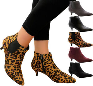 Ladies-Womens-Mid-Kitten-Heels-Court-Shoes-Office-Ankle-Chelsea-Boots-Shoes-Size