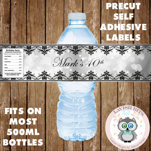 PERSONALISED WATER BOTTLE LABELS ELEGANT DESIGN ADULTS PARTY FAVOURS DECORATIONS