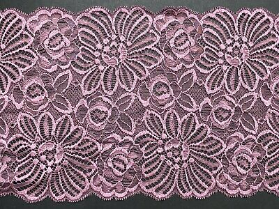 "laverslace Stunning Black Floral Stretch Lace with Pink Trim Edge 7/""//17.5cm"