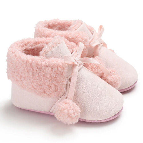 Toddler Baby Girl Boy Soft Booties Hair Ball Bandage Snow Boots Warm Shoes