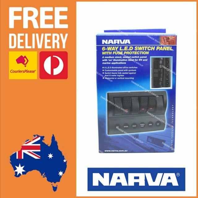 Narva 6 Way LED Switch Panel + Fuse Protection 12/24V for Caravan Boat RV 63193