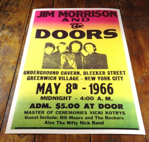 1966 JIM MORRISON & THE DOORS ROCK CONCERT MUSIC POSTER CAVERN NEW YORK CITY NY