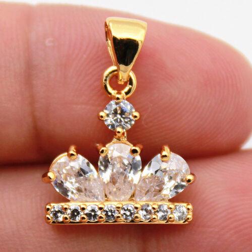 Clear Zircon Topaz Waterdrop Crown Globule Party Lady Pendant 18k Gold Filled