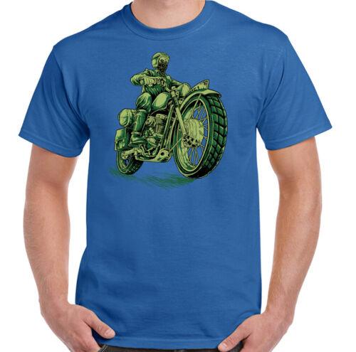 Cafe Racer T-Shirt Mens Motorcycle Skull Motorbike Indian Biker Bike Top Green