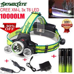 10000LM-CREE-XM-L-3x-T6-LED-Scheinwerfer-Scheinwerfer-Battery-Charger-Paket