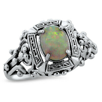 #583 WHITE LAB OPAL ANTIQUE VICTORIAN DESIGN 925 STERLING SILVER RING SIZE 8.75