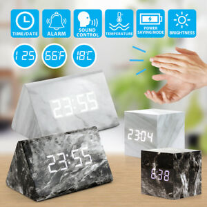 Marble-Fashion-LED-Clock-with-Dual-Power-Multi-function-Voice-Control-Screen