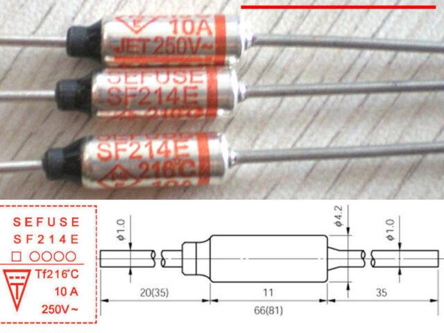 5Pcs SF214E Sefuse Cutoffs Thermal Fuse 216°C 216 Celsius Degree 10A 250V ^D