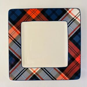 Gift-Collection-by-Tommy-Hilfiger-Plaid-Appetizer-Plates-Red-White-Blue-7-034-EUC