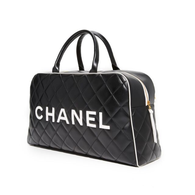 8a2fe74cab CHANEL Logo Letters Vintage Quilted Duffel Bag Travel Tote for sale online  | eBay