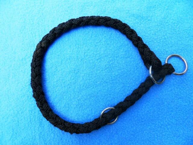 NEU: Schwarzes Nylon-Halsband mit Stopper, geflochten