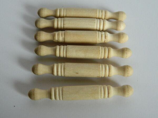 (kp1.12) 1/12th Scala Casa Delle Bambole Set Di 6 Perni Di Rotazione In Legno