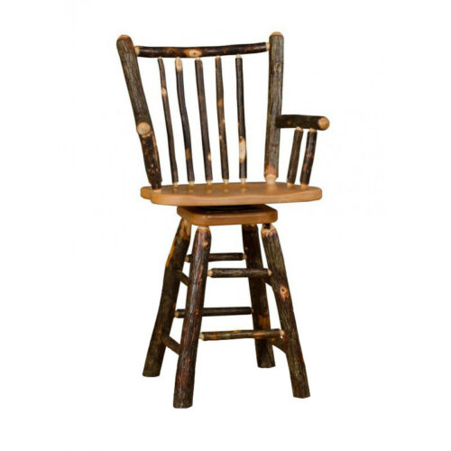 """Wood Options Rustic Hickory Stick Back 30/"""" Swivel Stool with Arms"""