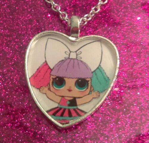 Collar Colgante de Corazón de Plata Chapado lol Muñeca Pranksta