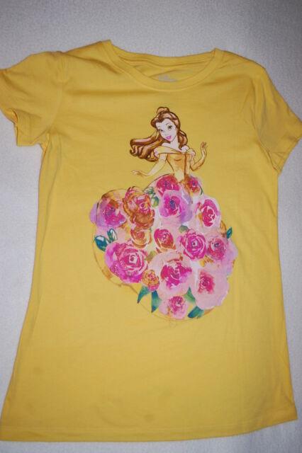 fbc2aec59396 Girls S s Tee Shirt Disney Princess Belle Yellow Pink Roses Dress ...