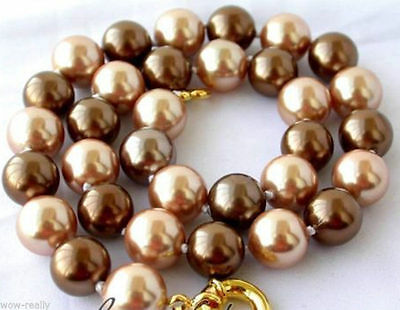 pretty 12mm round mix coffee color south sea shell pearl necklace chain 18''