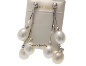 Véritable Triple Fresh Water Pearl Dangle Earrings 14k Solide Or Blanc-afficher Le Titre D'origine