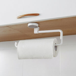 2pcs Space Saving Paper Towel Holder Dispenser Under Cabinet Paper Roll Holder Rack Without Drilling For Kitchen Bathroom Paper Holders