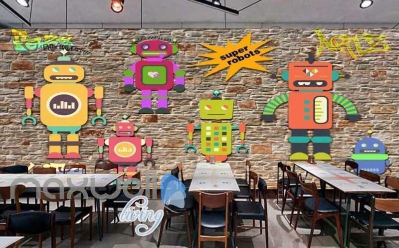 3D Graffiti Super Robots Life Art Wall Murals Wallpaper Decals Prints Decor