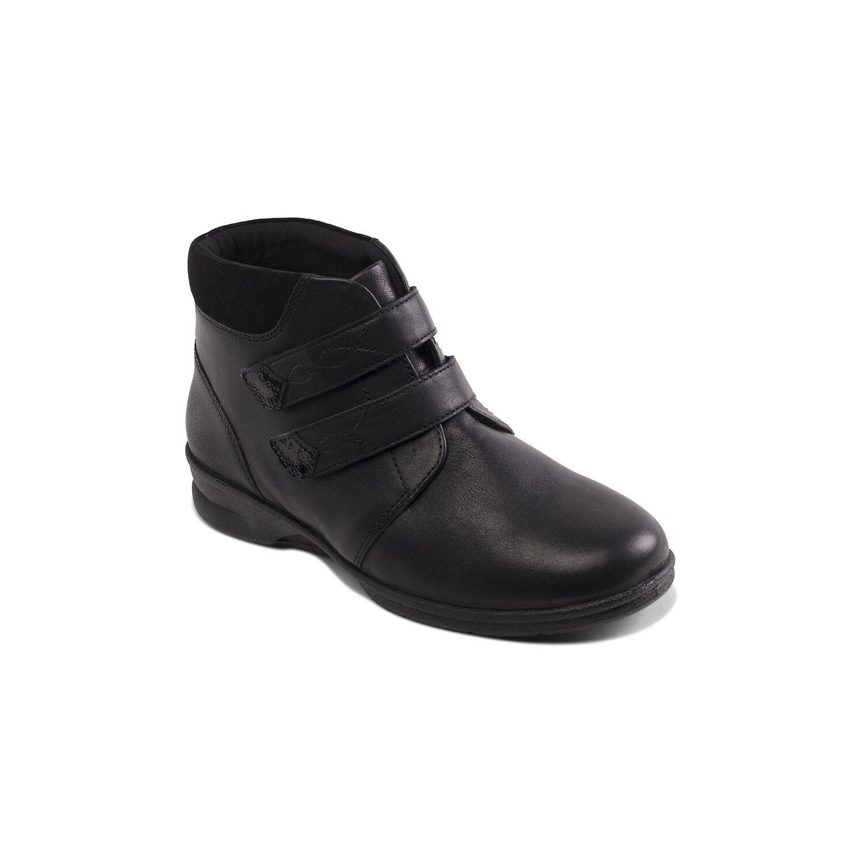 Los últimos zapatos de descuento para Plus hombres y mujeres Padders Plus para + doble tira Kathy de 4/6E de ancho de montaje de Cuero Negro Botas al tobillo 780d35