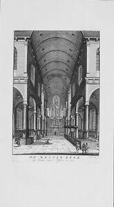Antique-map-De-Wester-Kerk-van-binnen-naar-039-t-westen-te-zien