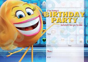 77-EMOJI-Boy-or-Girl-Pack-of-10-kids-children-birthday-party-INVITATIONS