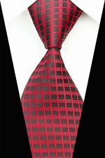 Classic Woven 100% Pure Silk Neck Tie with Red and Black Squares Design