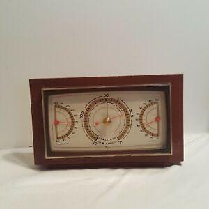 Vintage-Taylor-Barometer-Mid-Century-Modern-Mahogany-Desk-Temperature-Humidity