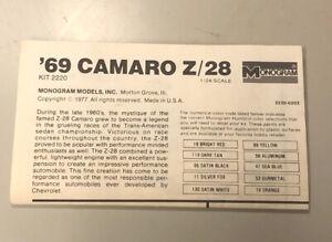 Vtg MONOGRAM '69 CAMARO Z/28 PLASTIC MODEL CAR INSTRUCTION SHEET KIT #2220 ©1977