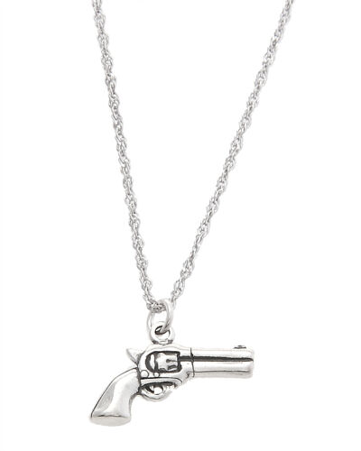 STERLING SILVER DOUBLE SIDED PISTOL CHARM WITH THIN SINGAPORE CHAIN NECKLACE