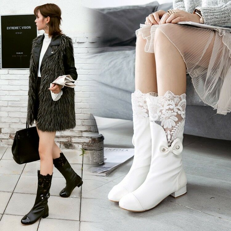 Womens Sweet Lace Floral Bowknot Round Toe Block Low Heels Calf Mid Boots Size