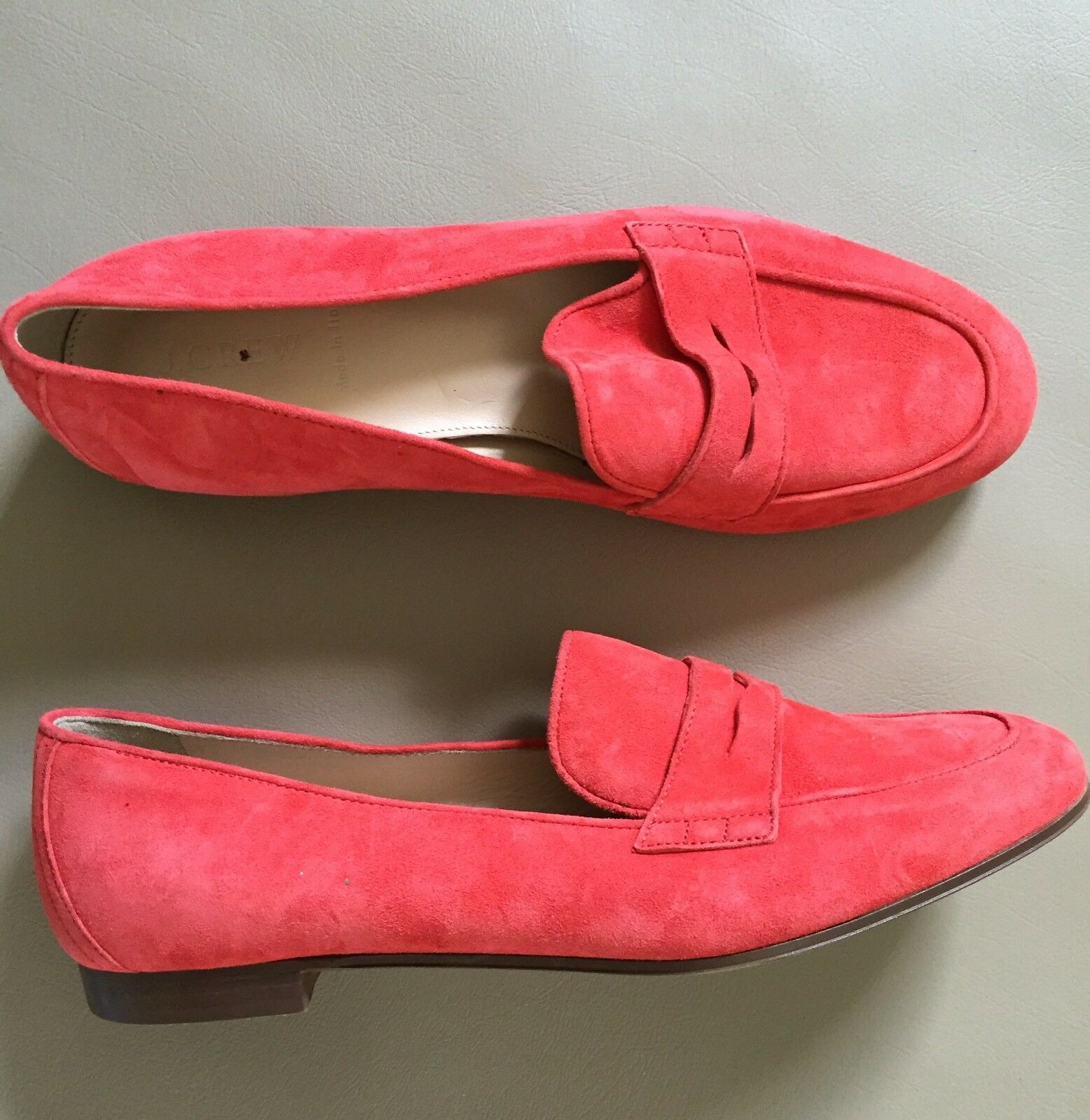 JCREW Charlie Penny Loafers in Suede Flats $168 7 Flame Red F5592 SOLDOUT!