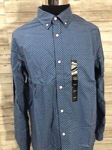 Men's NWT Banana Republic LT Large Tall Floral L//S Shirt Blue Standart Fit N56