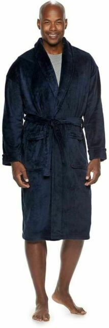 Navy Men/'s Croft /& Barrow Solid Plush Robes With Pockets Size S//M NWT