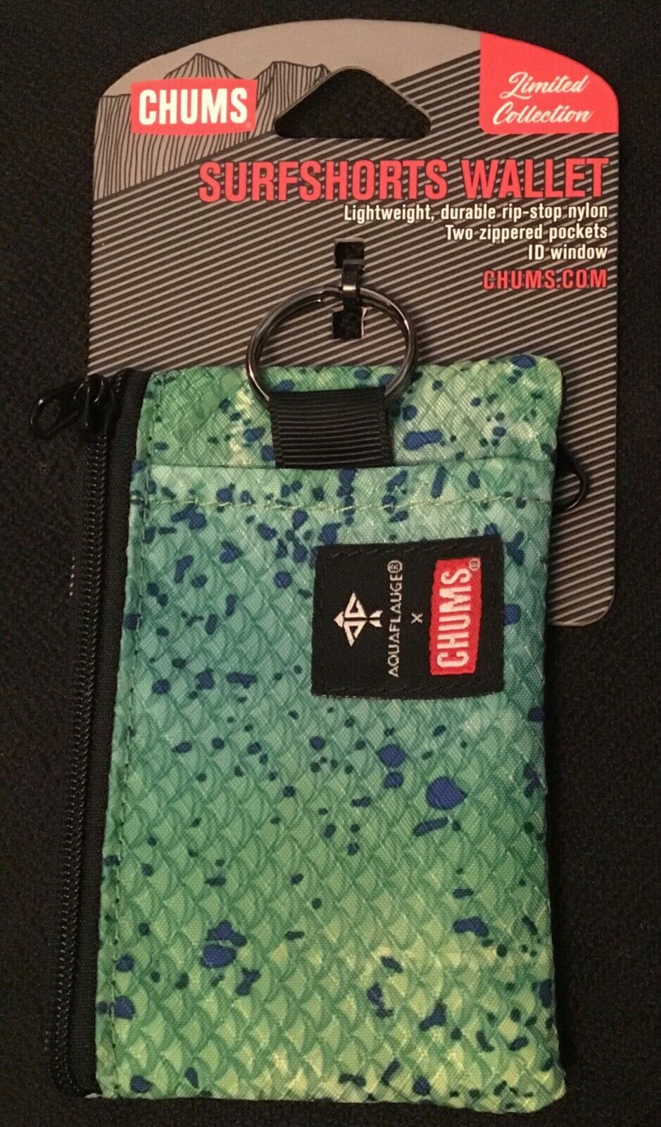 Chums Surfshort Wallet ID Holder Limited Collection Aqua Flauge Green Dorado