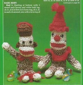 Crochet Pattern Sock Monkey Stuffed Kids Toy Doll Instructions