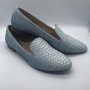 M. Gemi Blue Leather Loafer Flats Size 38.5 US 8 Animal Reptile Alligator Snake