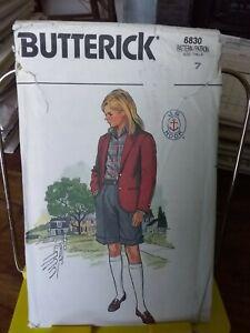 Oop-Butterick-6830-girls-prep-school-jacket-shorts-skirt-sz-7-NEW