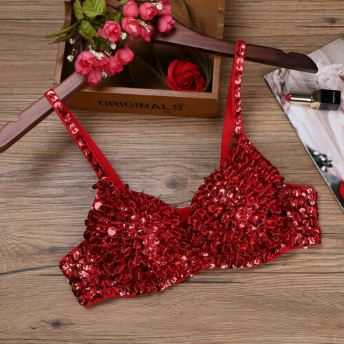 34-38 Women Sequins Beading Padded Bra Top Raves Club Wear Belly Dancing Costume