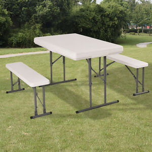 FOLDING CAMPING TABLE & BENCH SET GARDEN FURNITURE PICNIC PARTY ...