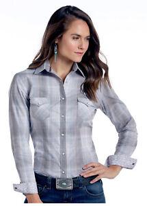 Panhandle-Slim-Women-039-s-Grey-amp-Blue-Vintage-Plaid-Snap-Up-Western-Shirt-R4S9439