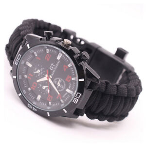 Outdoor Paracord Survival Watch Bracelet Compass Flint Fire Starter Whistle
