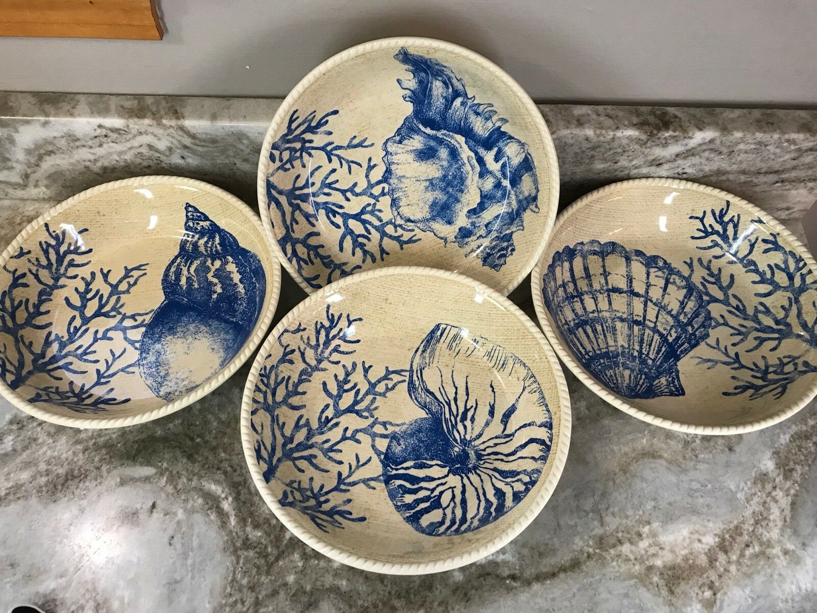 Large Seaside Pasta Bowls Set Of 4. Beige And bluee. New.