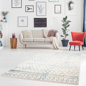 Das Bild Wird Geladen Teppich Modern Flachflor Geometrisches Muster Pastell  Blau Wohnzimmer