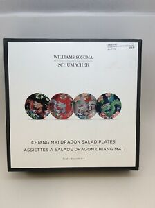 New-Williams-Sonoma-Chiang-Mai-Dragon-Schumacher-Salad-Plates-Set-Of-4